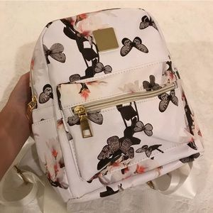 NEW White Floral Butterfly Mini Backpack